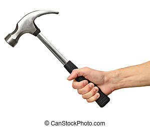 Hammer in hand on white background