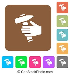 Hammer in hand rounded square flat icons