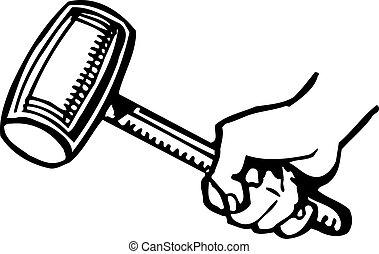 Hammer in the hand on white background