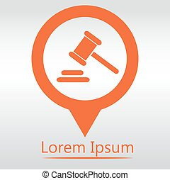 Hammer judge icon. gavel law legal hammer. icon map pin.