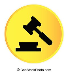 Hammer Judge Icon Yellow Circle Frame Background Vector Image