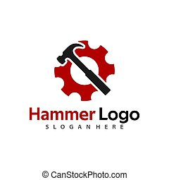 Hammer Logo Vector for construction, maintenance, property, home repairing business company.