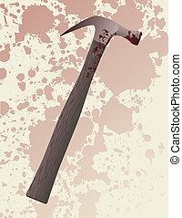 Hammer murder weapon - A blood splattered hammer fresh from...