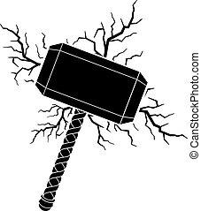 Hammer of Thor and lightning bolts vector illustration