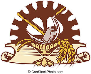 hammer sickle wheat mechanical gear cog - illustration of a...
