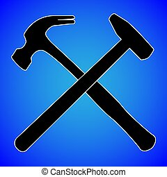 hammer silhouette isolated on blue background vector illustration