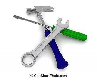 Hammer, skrewdriver and spanner. 3d