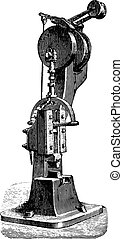 Hammer spring Mr. Bouhey, vintage engraving.