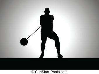 Hammer Throw - Silhouette illustration of hammer throw ...