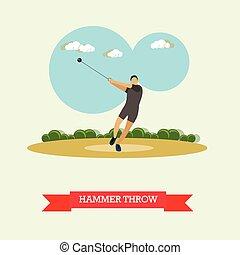 Hammer throw sportsman. Track and field athletics. Flat design