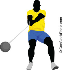 Hammer Throw  - Vector illustration of hammer throw athlete