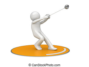 Hammer throwing - 3d isolated on white background sports...