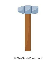 hammer tool icon, flat design