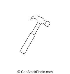 Hammer, tool icon. Vector illustration, flat design.