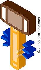 Hammer Tool isometric icon vector illustration