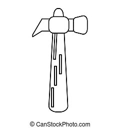 hammer tool steel wooden icon outline
