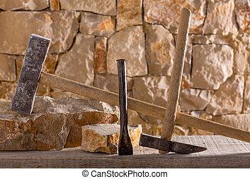 Hammer tools of stonecutter masonry work - Hammer mason...