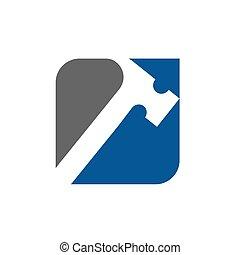 Hammer vector logo, repair mechanic logo, handyman icon design, renovation