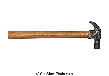 hammer with a wooden handle on white