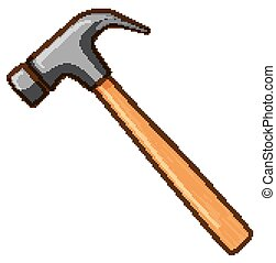 Hammer with wooden handle on white background
