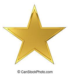 Golden Star Award - Hammered Golden Star Award. Isolated on...