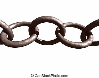 Hammered Metal Chain - A metal chain isolated on a white...