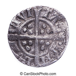 hammered silver penny of Edward I reverse - Hammered silver...