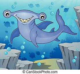 hammerhead, 2, imagen, tema, tiburón