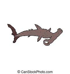 hammerhead, cômico, tubarão, caricatura