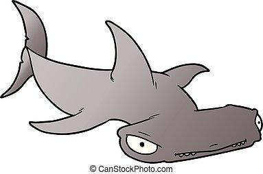 hammerhead, caricatura, tubarão