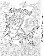 hammerhead, coloração, shark., página