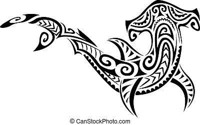 hammerhead, estilo, tiburón, polynesian