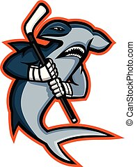 Hammerhead Ice Hockey Player Mascot - Mascot icon...