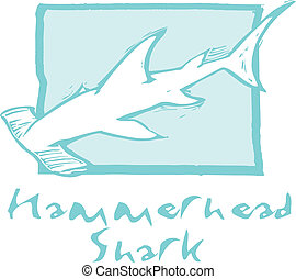 Hammerhead Shark in Blue - Hammerhead shark swims in the...