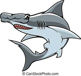 Hammerhead shark isolated vector mascot icon - Hammerhead...