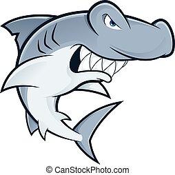 Hammerhead shark mascot - Clipart picture of a hammerhead...