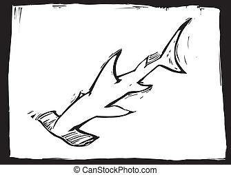 Hammerhead shark swims in the ocean in woodcut style image.