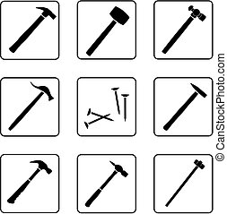 hammers silhouettes in a nine square grid