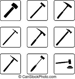 Hammers 2 - hammers silhouettes in a nine square grid