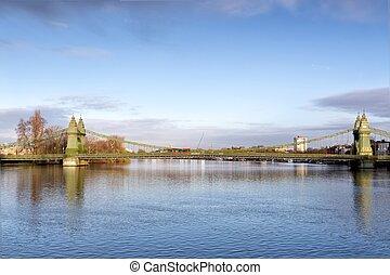 hammersmith, 橋, 河岸, thames, 南