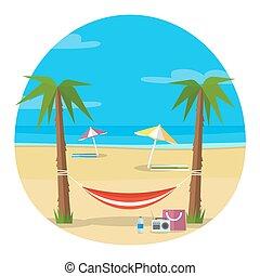 Hammock and beach illustration.