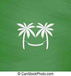 hammock and palm trees - Hammock and palm trees. Flat Icon. ...