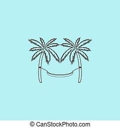 hammock and palm trees - Hammock and palm trees. Simple ...