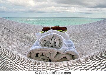 hammock and spa - white hammock and  aromatherapy spa stuff.