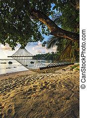 hammock at beautiful sunrise on paradise beach, seychelles 1