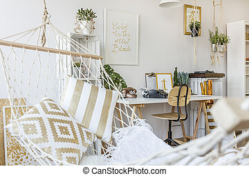 Hammock at room interior - Modern hammock at living room ...