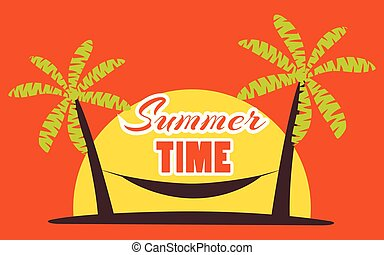 Hammock between palm trees on a sunset background. Summer time, beach vacation, miami. Vector illustration