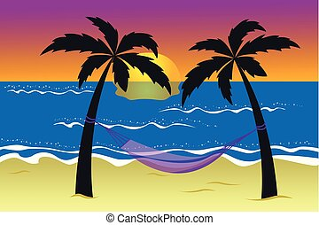 hammock between palm trees on the beach at sunset