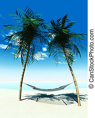 Hammock between palmtrees - A hammock between two palmtrees ...