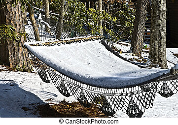 Hammock Covered with Snow